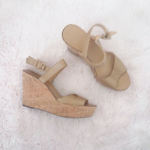 ❄ J. Crew Tan Strappy Open Toe Cork Wedges